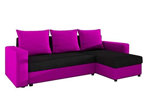Outlet Ecksofa Top! Sofa Eckcouch Couch! mit Schlaffunktion und 2 Bettkasten! Ottomane Universal, L-Form Schlafsofa (06. Korpus, Seiten, Kissen: Microfaza 28; Sitzfläche, Rückenlehne: Alova 04)