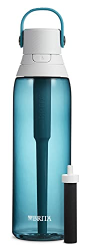brita bpa free water bottles Brita Water Bottle with Filter, 26 Ounce Premium Filtered Water Bottle, BPA Free, Sea Glass