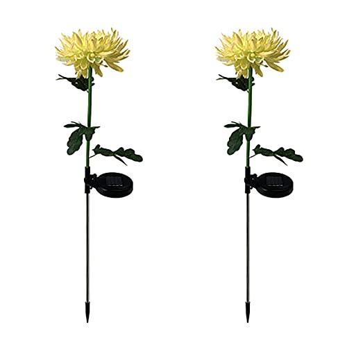 2pcs LED lumière solaire artificiel chrysanthème simulation fleur de jardin étanche jardin extérieur jardin lampes de jardin décoration de jardin neuf (Emitting Color : F)