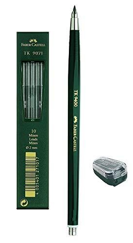 Faber-Castell 139412 - Fallminenstift TK 9400, Minenstärke: 2 mm, Härtegrad: 2H, Schaftfarbe: grün (Stift + Spitzer + 10 Minen)