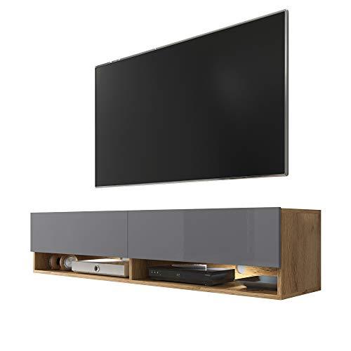 Selsey Wander - Mueble TV Suspendido/Mesa TV/Mueble para Salón (140 cm, con LED, Roble Dorado/Gris Brillante)