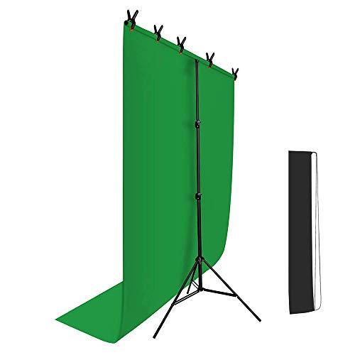 Hemmotop T字型 背景スタンド 150 x 200cm クロマキー用 グリーンバッグと万能クリップ5個付き 撮影スタン...