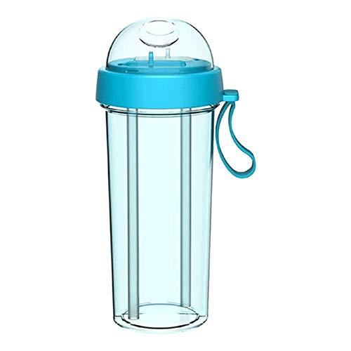 RAP Drinkbeker, dubbele drank voor 2 gearomatiseerde dranken, dubbel rietje, voor fitness, reizen, koffiekopje, 600 ml, dubbele beker