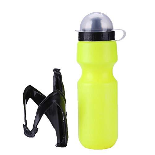 Botella de agua de ciclismo con soporte de jaula, botella de agua portátil esencial para deportes al aire libre para ciclismo bicicletas de montaña 650ml (amarillo + negro)