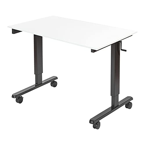 """48"""" Crank Adjustable Height Standing Desk (Charcoal Frame/Gloss White Top)"""