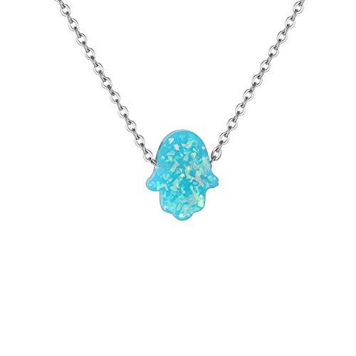Karisma Damen Edelstahl Collier Anhänger Kette - Halskette Opal Fatimas Hand Hamsa - YLK108.grün