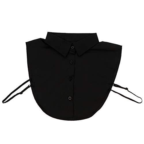 KESYOO Mujer Media Camisa Cuello Falso Cuello Dickey para Mujer Algodón para Mujer Office Lady Work Dickey Tops Black
