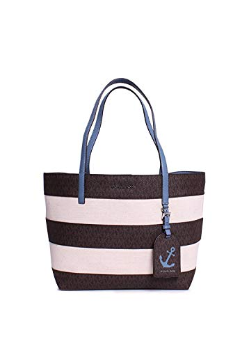 """18-7/8""""W x 11""""H x 6-3/4""""D Interior features removable zip pouch 9-7/8""""L double handles Exterior features gold-tone hardware Cotton canvas/MK signature coated twill faux leather/pebble embossed leather; lining: polyester"""