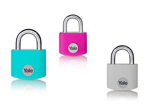 Yale YE3B/38/119/1 Boron Luggage Locks, Gris/Rose/Turquoise, 38mm