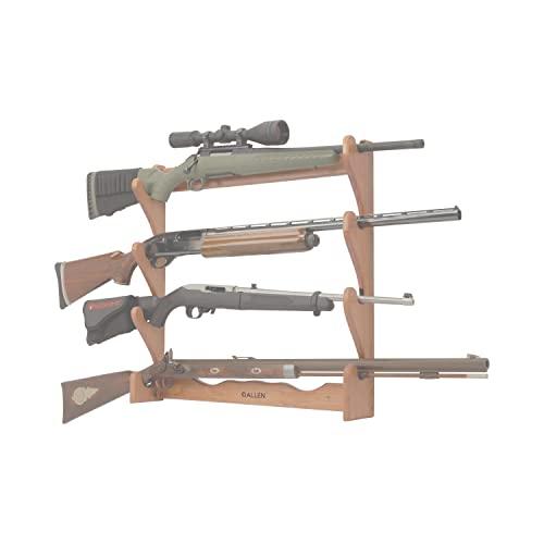 Allen Four Gun Wooden Wall Gun Rack, holds both shotguns & rifles, Natural, One Size (18550)