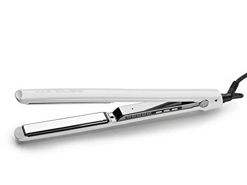 piastra per capelli infrarossi CORIOLISS C3 Piastra per capelli Professionale Titanio Display Digitale Infrarossi Ioni (White Silver)