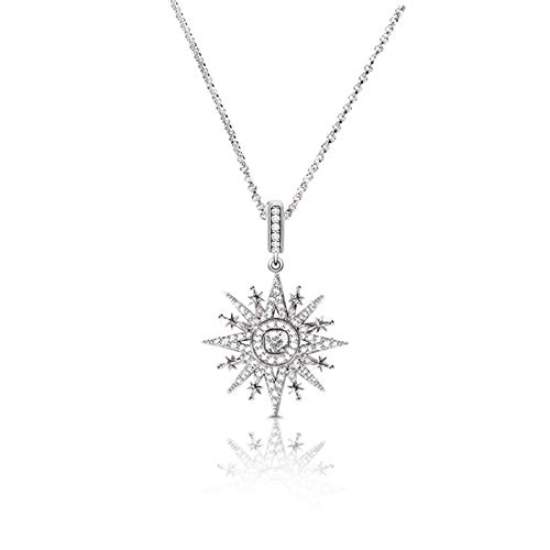 KAMONI Eight-Pointed Star Pendant Necklace Sterling Silver Cubic Zirconia CZ Necklace with Adjustable Chain Jewelry Gifts for Women Girls