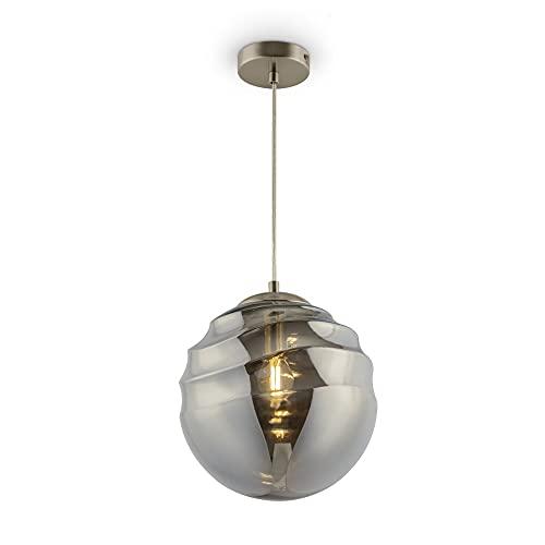Lámpara de techo con 1 lámpara de cristal ahumado de metal, para salón, dormitorio, estilo moderno, excluido, 1 bombilla E14 (40 W) 230 V diámetro: 25 cm