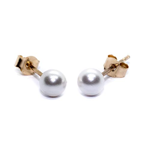 Arranview Jewellery 4mm Simulated Pearl Stud Earrings - 9ct Gold - With Small (3mm) Backs