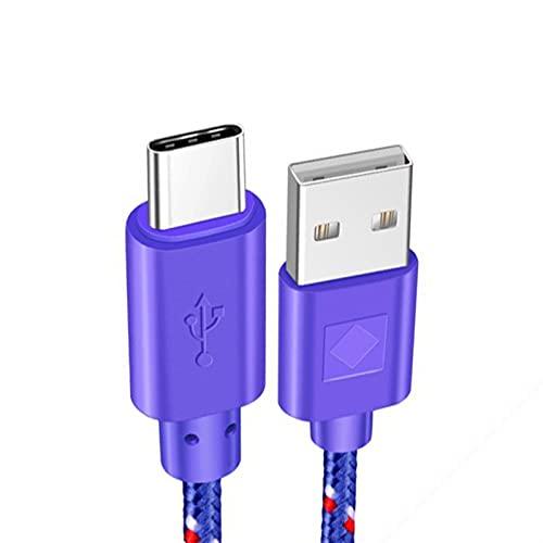 USB Tipo C Cable Carga RÁPIDO RÁPIDO 1M 2M 3M Cargador para P9 P10 P20 Mate 10 Pro S9 S10 Plus S8 Nota 9 Cable de Datos (Color : Purple, Length : 0.5m)