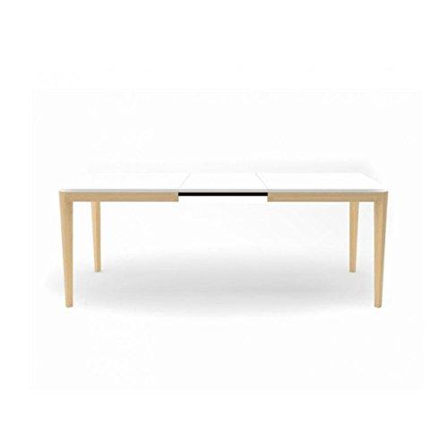 Infiniti–Tisch ausziehbar Porta Venezia Living Füße Natur Blanc/Hêtre