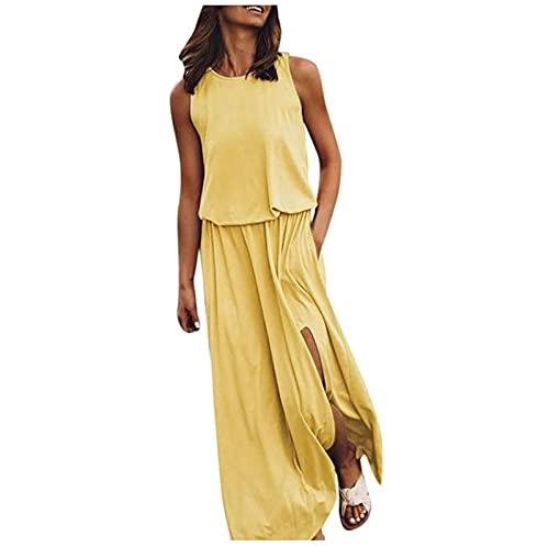 Lalaluka Kleider Damen Böhmischkleid langEinfarbig Side Split Rundhals Ärmellose MaxiKleid Freizeitkleid Pencilkleid Trägerkleid