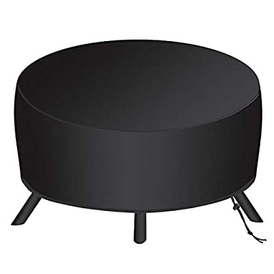 SAVITA 34x16 Inch Round Fire Pit Cover for 22-34 Inch Fire Pit, 210D Oxford Fabric Patio Outdoor Fireplace Fire Bowl Cover, Waterproof, Dustproof, Windproof (Black) by SAVITA