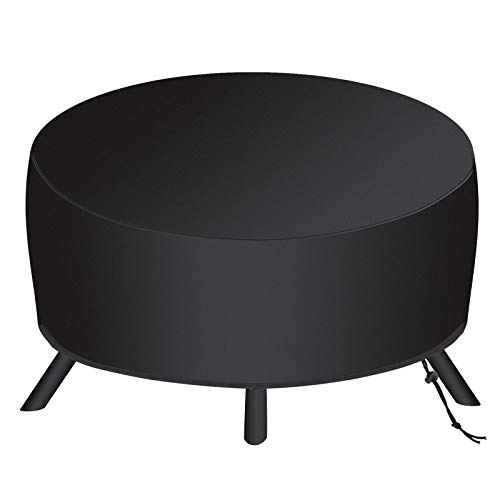 SAVITA 34x16 Inch Round Fire Pit Cover for 22-34 Inch Fire Pit, 210D Oxford Fabric Patio Outdoor Fireplace Fire Bowl Cover, Waterproof, Dustproof, Windproof (Black)