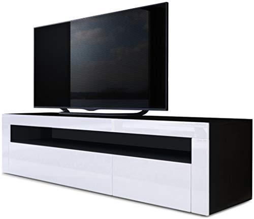 Vladon TV Board Lowboard Valencia, Korpus in Schwarz matt/Front in Weiß Hochglanz mit Rahmen in Weiß Hochglanz