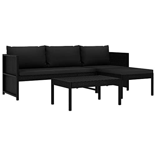 vidaXL Gartenmöbel 3-TLG. mit Auflagen Lounge Sofa Sitzgruppe Gartenset Gartensofa Sitzgarnitur Garten Garnitur Poly Rattan Schwarz