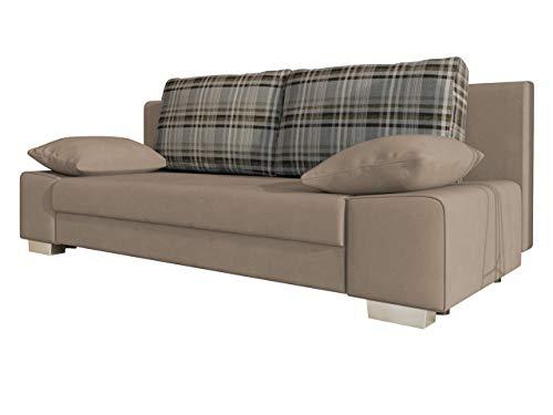 Schlafsofa Laura, Couch mit Bettkasten und Schlaffunktion, freistehendes Schlafcouch, Couchgarnitur, Bettfofa, Sofa vom Hersteller (Mono 232 + Senegal 808)