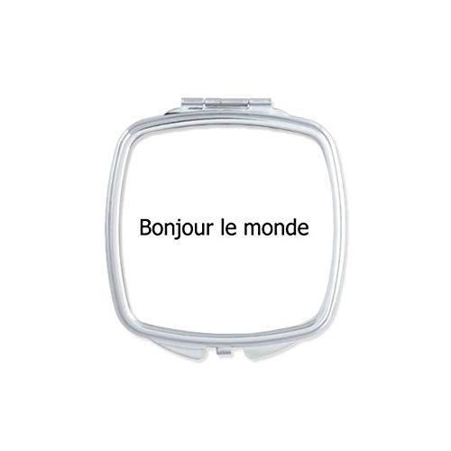 DIYthinker Hello World Frans Vierkant Compact Make-up Pocket Spiegel Draagbare Leuke Kleine Hand Spiegels Gift