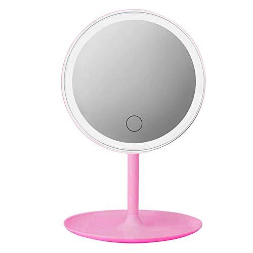Miroir de Maquillage de Bureau avec Miroir de Maquillage Portable léger Fond de Source de lumière Tricolore Pliable avec Fonction de Stockage à 90 degrés Peut être tourné