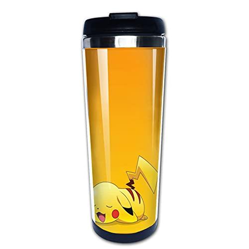 Botella de taza y taza de Pokemon – frasco de doble pared al vacío de acero inoxidable taza térmica con tapa deslizante a prueba de salpicaduras, 13 onzas