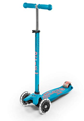 Micro Kickboard - Maxi Deluxe LED - Three Wheeled, Lean-to-Steer Swiss-Designed Micro Scooter for Kids with Motion-Activated Light-Up Wheels for Ages 5-12 (Aqua)