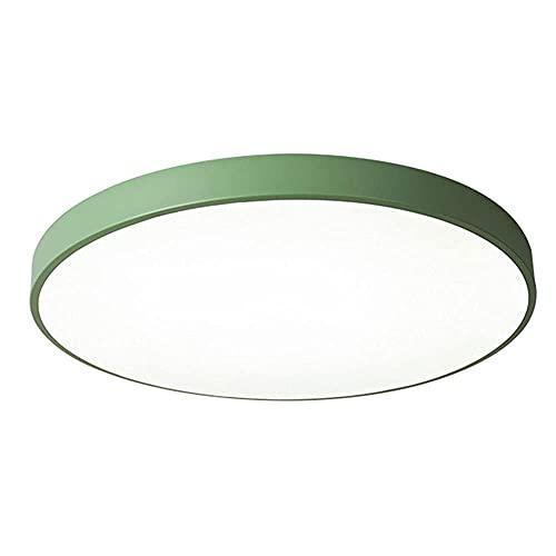 Lámpara de techo LED de hierro forjado Lámpara de techo redonda ultrafina simple Lámparas de techo de instalación semiempotradas creativas verdes para sala de estar,cocina,dormitorio,pasillo,balcón