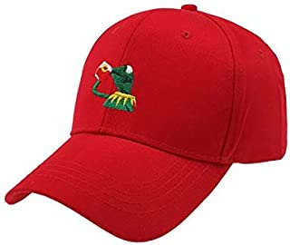 Quanshijie Frog Sipping Tea Embroidered Baseball Cap Adjustable Unisex