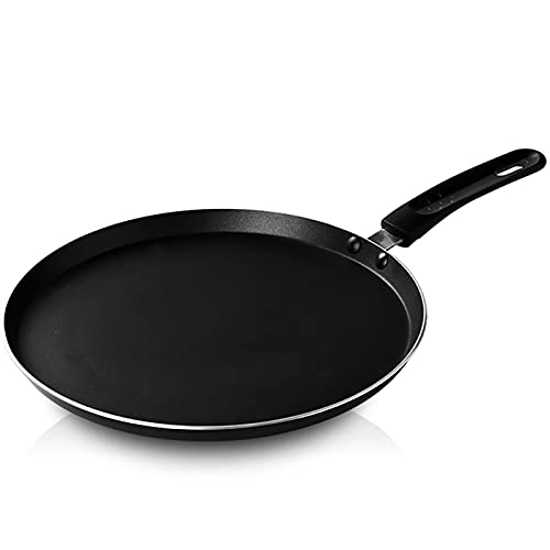 Kaliove Nonstick Crepe Pan Kitchen Omelette Frying Pan Pancake Cooking Skillet for Kitchen Cooking Tools Aluminum Alloy 20/24/28Cm,Black,24cm
