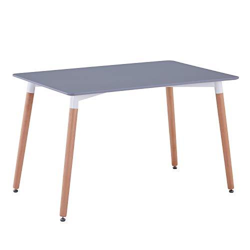 GOLDFAN Esstisch Holz Matt Küchentisch Modern Wohnzimmertisch Holztisch für Büro Küche Grau 120x70x75cm