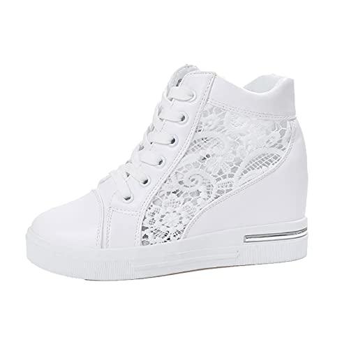 Zapatillas de Plataforma para Mujer Zapatillas de Deporte de Malla de Encaje Transpirable Zapatillas de Deporte de Moda Antideslizantes para Vestir Zapatos Casuales con Cordones sucintos
