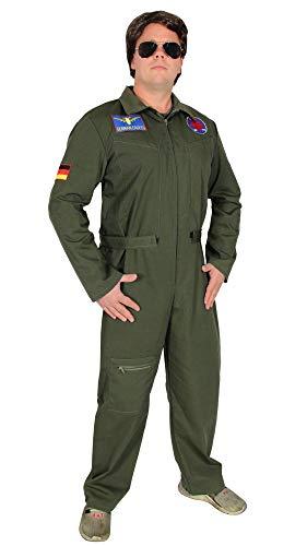 Foxxeo Jetpilot Kostüm für Herren Piloten Kostüm Karneval Fasching Männer Pilot Overall - Größe XL