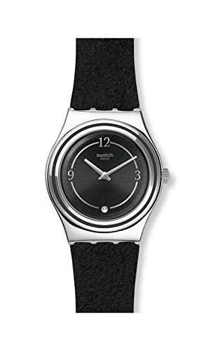 Swatch Damen Analog Schweizer Quarz Uhr mit Echtes Leder Armband YLS214