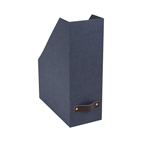 Bigso Box of Sweden Stehsammler für Zeitschriften, Magazine und Akten – praktischer Organizer aus Faserplatte und Papier in Leinenoptik – Stabiler Zeitschriftenhalter mit Griff – blau