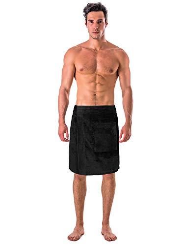 Turkish Cotton Terry Velour Adjustable Body Wrap Towel for Men(Black, One Size)