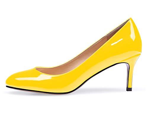 elashe Damen Kitten High Heels Pumps mit Spitze Slip on Lack Basic Büro Arbeit Schuhe Gelb EU38