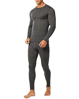 LAPASA Men's 100% Merino Wool Thermal Underwear Long John Set Lightweight Base Layer Top and Bottom M31 (X-Large, Dark Grey)