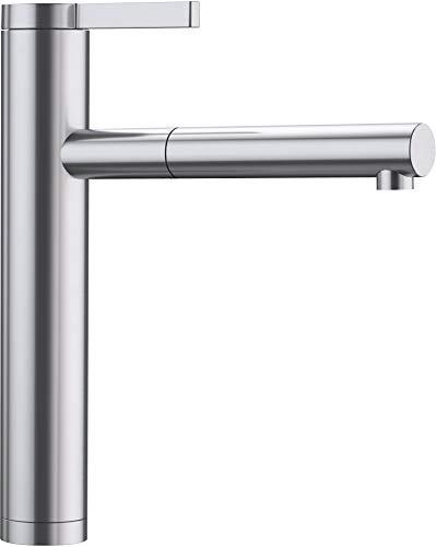 BLANCO Linee-S, Küchenarmatur - Einhandmischer, exklusiver Wasserhahn mit ausziehbarer Brause, Massiv-Edelstahl in Seidenglanz-Finish, Hochdruck, 1 Stück, 517592