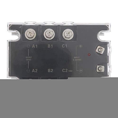 Yaseking Relé de estado sólido, relé de estado sólido TSR-40DA-H con 40A trifásico SSR Característica 24-480VAC carga de tensión for equipos de automatización industrial