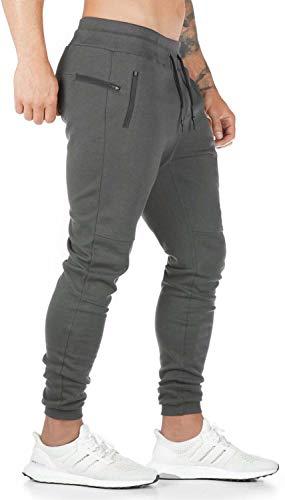 Herren Jogginghose Slim Fit Sporthose Baumwolle Streetwear Hose Freizeithose Grau L