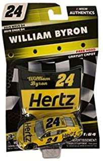 NASCAR Authentics William Byron Diecast Car 1/64 Scale - 2019 Wave 4 - with Plastic Hood - Collectible
