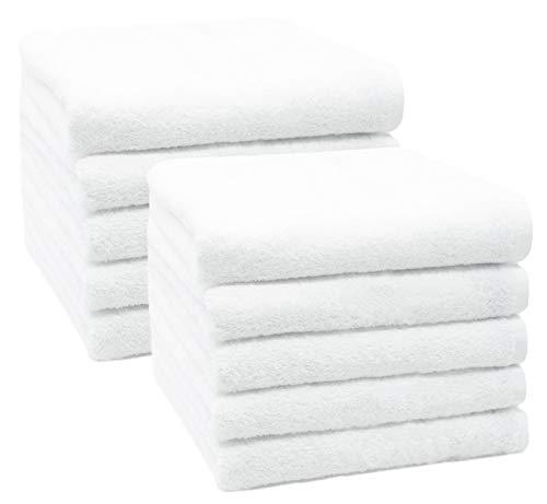 ZOLLNER 10er Set Handücher, 50x100 cm, 100% Baumwolle, 450g/qm, weiß