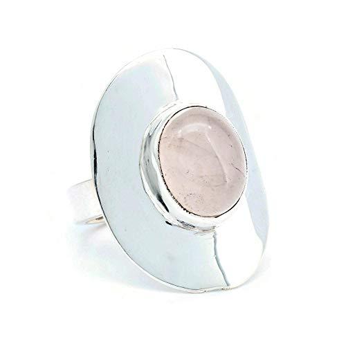 Anillo de plata de ley 925 cuarzo rosa (No: MRI 175), Ringgröße:62 mm/Ø 19.7 mm