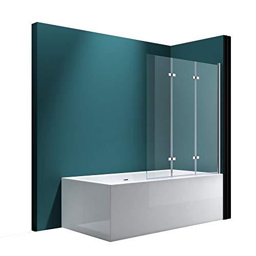 Mai & Mai Badewannen-Aufsatz 130x140cm Duschwand Badewanne Rechts Badewannenfaltwand Klarglas 6mm ESG-Glas Nano-Versiegelung C116R