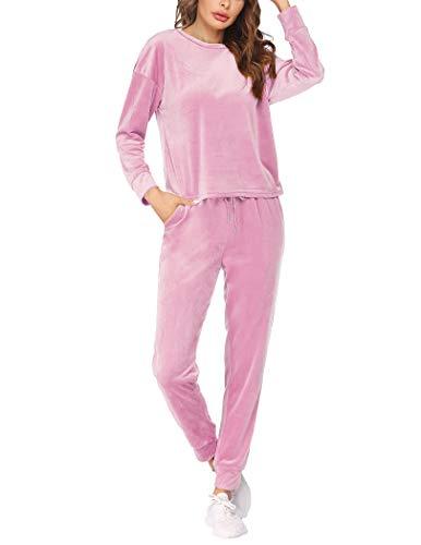 Hotouch Pink Sweatsuit Two Piece Velvet Tracksuit Set Soft Jogging Suits Athletic Clothing Sets