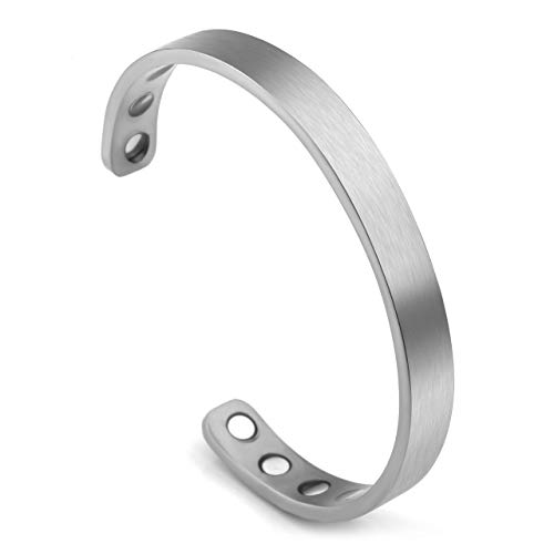 Jovivi Titanium Magnetic Matte Silver Plain Cuff Bangle Bracelets for Men Women Therapy, 8mm